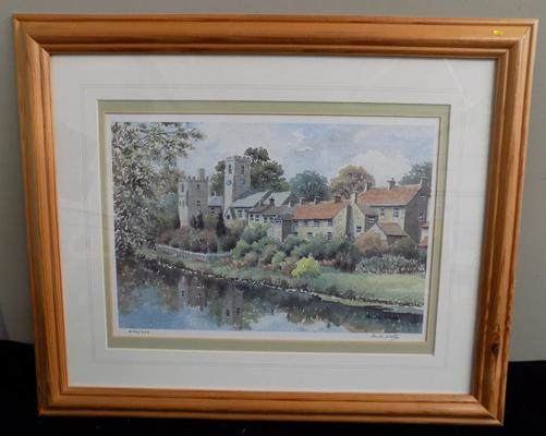 Anita Hall 'West Tanfield' Ltd Edition signed print 466/850