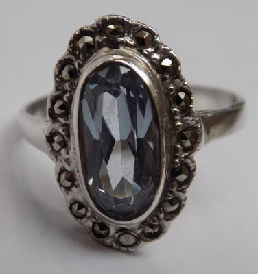 925 silver Art Deco style ring with large blue gemstone and marcasite detail, approx. size R