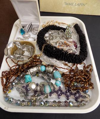 Tray of costume jewellery job lot in box incl. Jasper Conran, silver necklace