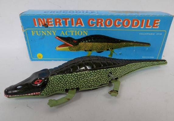 Vintage tinplate clockwork running crocodile