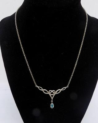 Celtic silver and blue stone set necklace