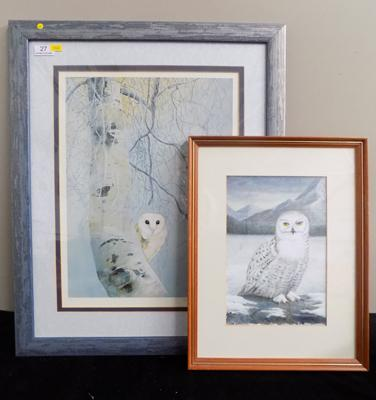 Pollyanna Pickering 'Dawn til Dusk' Limited Edition signed print 506/600 + Snowy Owl watercolour signed RAB
