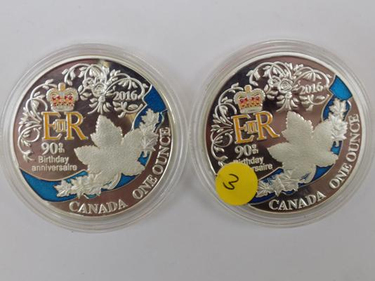 Two x  1 ounce Canadian coins