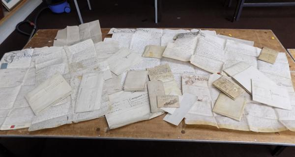 Box containing good collection of vintage indentures etc...