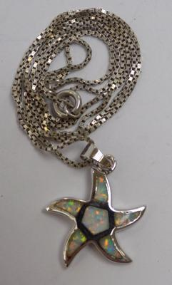 925 silver opal 'starfish' pendant on silver 19 inch chain