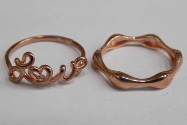Two gold on 925 silver rings