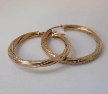 9ct gold large twisted hoop earrings