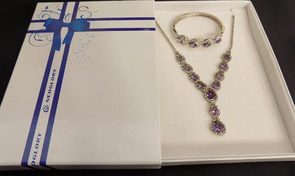 Neoglory purple stone and jewellery set