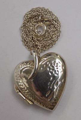 925 silver heart locket necklace - approx. 16 inch chain