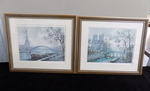 Pair of prints of Paris - Notre Dame and Eiffel Tower