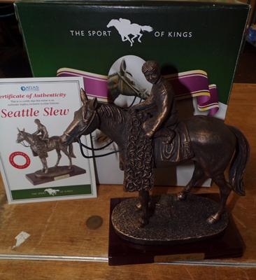 Boxed Sport of Kings, bronzed racehorse, 'Seattle Slew' on wooden base with certificate