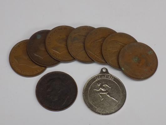 George VI one penny & Olympics 1924 100 metre commemorative medal + others