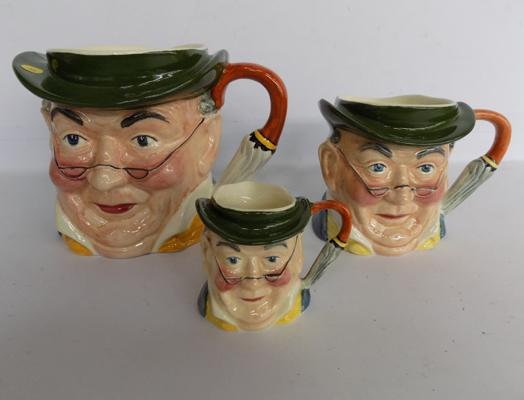 Sylvac set of 3 Mr Pickwick character jugs No's 4431/33 good condition