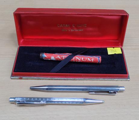 Caran D'Ache silver plated Ecridor pens + pencil boxed set