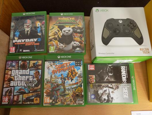 X-Box One wireless controller and 5 games