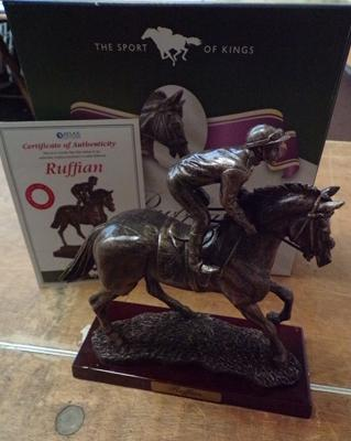 Boxed Sport of Kings bronzed racehorse 'Ruffian' on wooden base with certificate