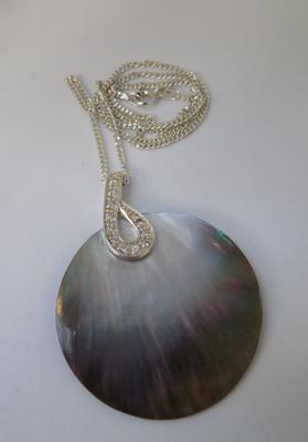 925 silver chain with with silver paua shell pendant, 16 inches