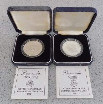 2x Silver 1990 Bermuda $2 coins in cases