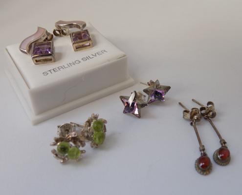 Five pairs of silver earrings - amber, crystal, citrine, amethyst & mother of pearl