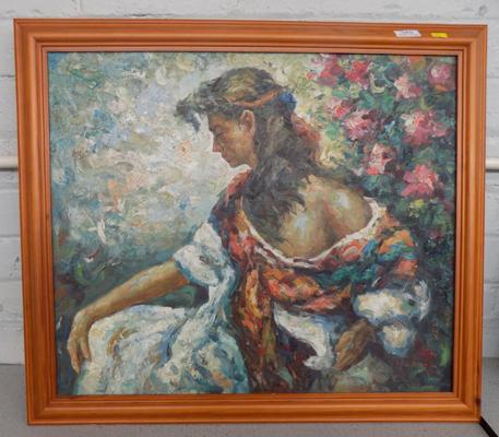 Framed O/B painting of Continental girl