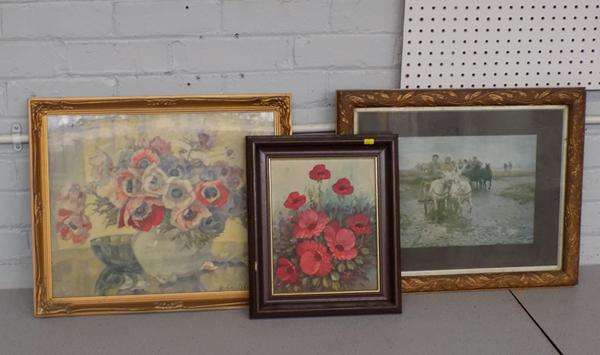 Three assorted framed paintings/prints