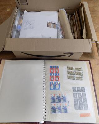 Box of world stamps and albums