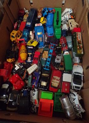 Box of vintage diecast cars & vans