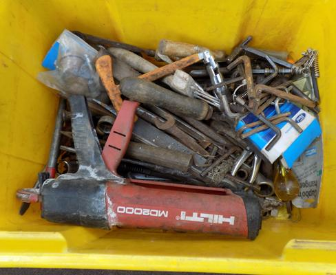Yellow box of mixed tools