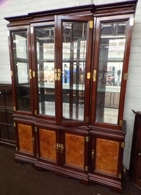 Mahogany display cabinet with brass detailing