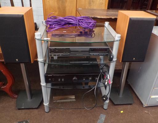 Technics & Rotel sound system with stand & speakers in W/O