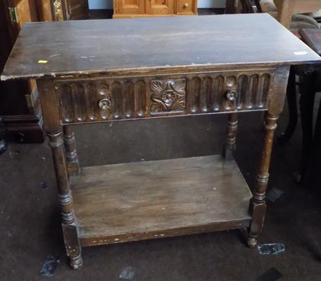 Oak carved side table