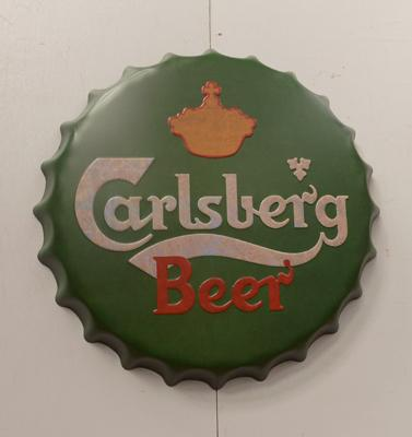 "16"" Carlsberg tin plate bottle top"