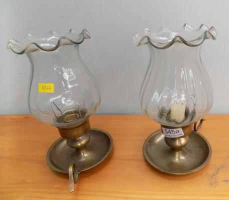 Pair of brass & glass candle holders