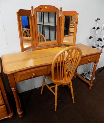 Pine mirror dressing table & chair