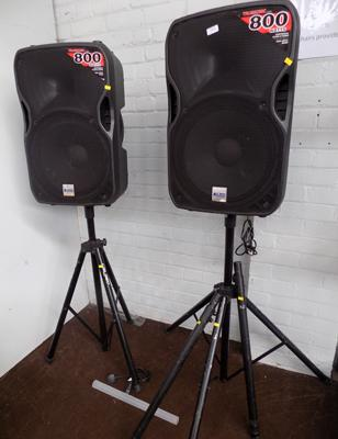Pair of Alto Truesonic series 800 watt speakers on stands - one needs attention