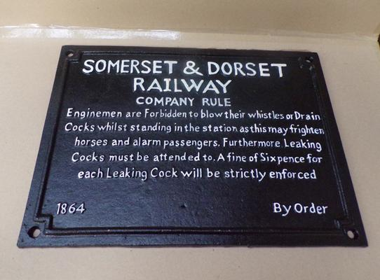Cast iron Somerset & Dorset Railway Company Rules plaque