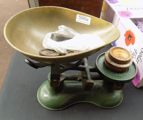 Vintage weighing scales with weights