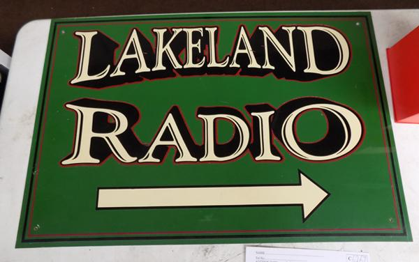 Tin sign Lakeland radio original room 1