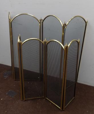 Two brass fire screens