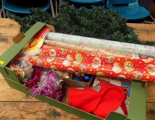 Christmas tree, box of baubles & wrapping paper