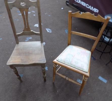 2 wooden chairs