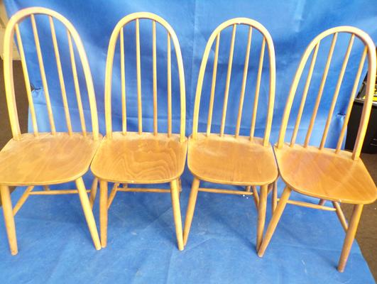 Four Ercol style dining chairs