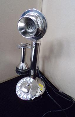 1950s style chrome telephone - 12 inches high