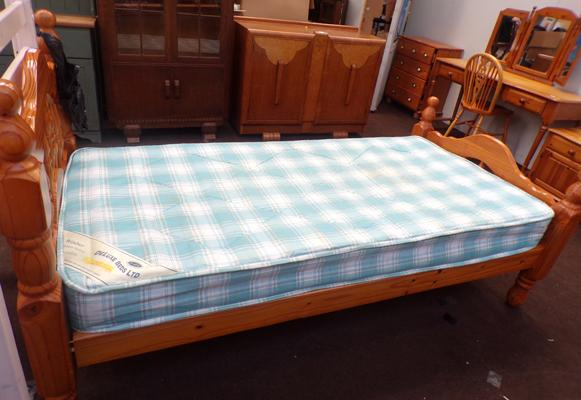 Single pine bed frame & mattress