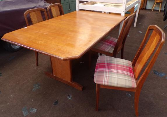 1970 teak G-Plan extending table & 4 chairs