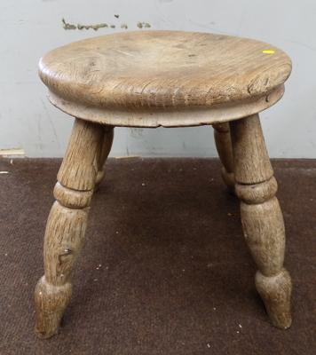 Wooden milking stool approx 10 inches high