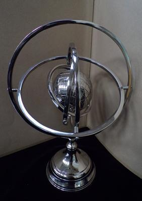 Large chrome gyroscopic globe - 18 inches tall - gyroscope outer & globe both spin
