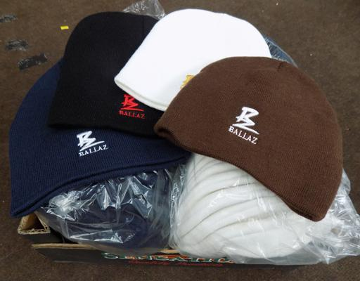 Box of approx 50 new Ballaz beanie hats