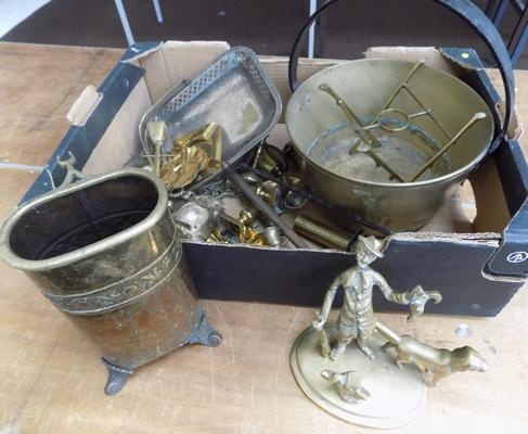Box of metalware mainly brass