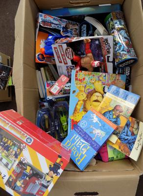 Box of mixed new toys, games & toys
